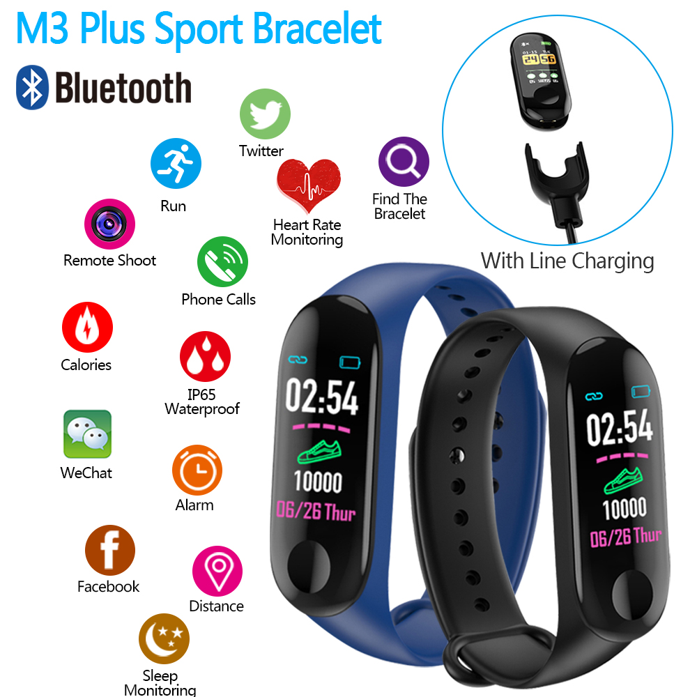 M3 Plus Smart Bracelet Color Screen Sports Pedometer Fitness Tracker Running Walking Heart Rate Function Pedometers Smart Band