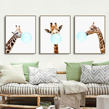 Giraffe Bubble Gum Nordic Poster Canvas Painting Calligraphy Prints Picture For Living Room House Wall Art Home Decoration