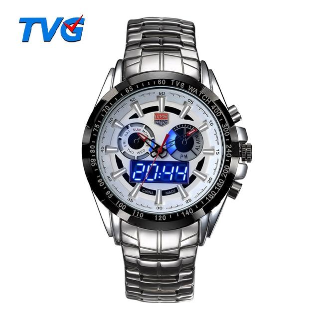 185a59dfdc2 Esportes Homens Relógio TVG Led Relógio Quartz Relógio de Pulso À Prova D   Água Dupla