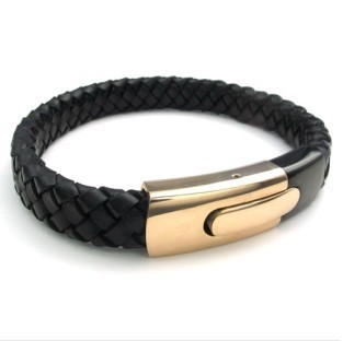 Free Shipping Fashion High Quality Handmade Knitted Black Genuine Leather Bracelet with Rose Steel Clasp