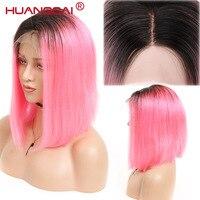 Перуанский короткий парик Боб 1B/розовый полный шнурок парики предварительно сорвал с волосы младенца Ombre Цвет Синтетические волосы на круж