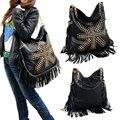 New Female's Fashion Casual Tassel Shoulder PU Leather Bag Satchel Rivet Bags