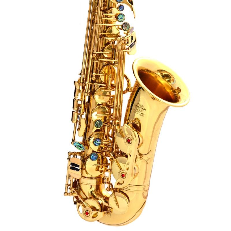 Hot selling E-flat alto sax Musical Instruments saxofone Electrophoresis gold professional sax & Hard boxs original henlucky e flat alto saxophone eb musical instrument saxe ni gold plated process sax professional good quality saxofone