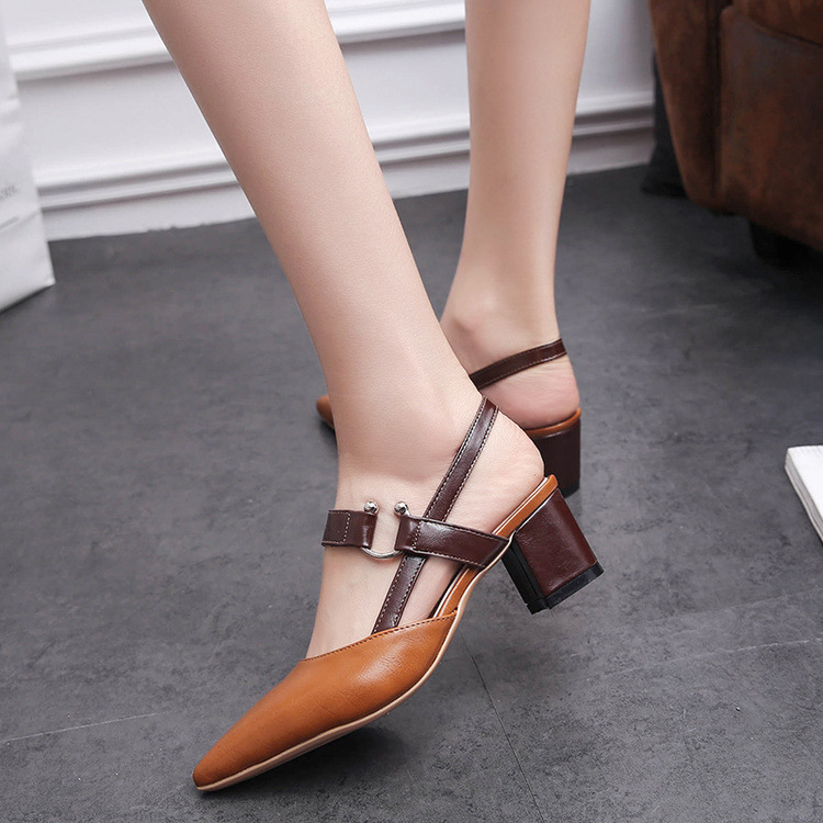 Female summer 2017 new Baotou sandals wild pointed high heels thick with the buckle tide shallow