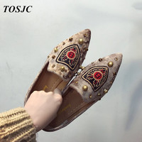 TOSJC Woman Light Weight Fashion Casual Loafer Shoes Lady Outdoor Flat Shoes Point Toe Casual Footwear