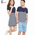 2016 Amantes de Verão Doce Bonito Roupas Para Mulheres Casal E homens Casuais Azul E Branco Listrado Coreano Matching Casal T camisas
