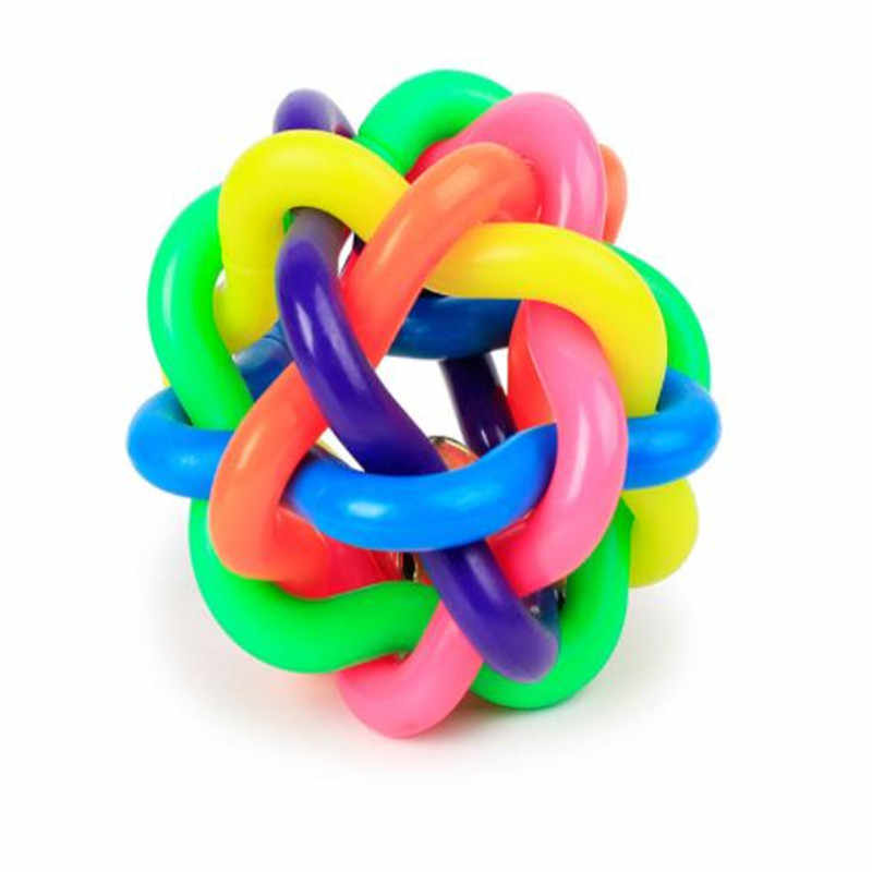 2 шт. собака кошка Звуковой шар Радуга красочные резиновые пластиковые игральные игрушки собака жевательный узел мяч Тканый Плетеный надувной резиновая игрушка