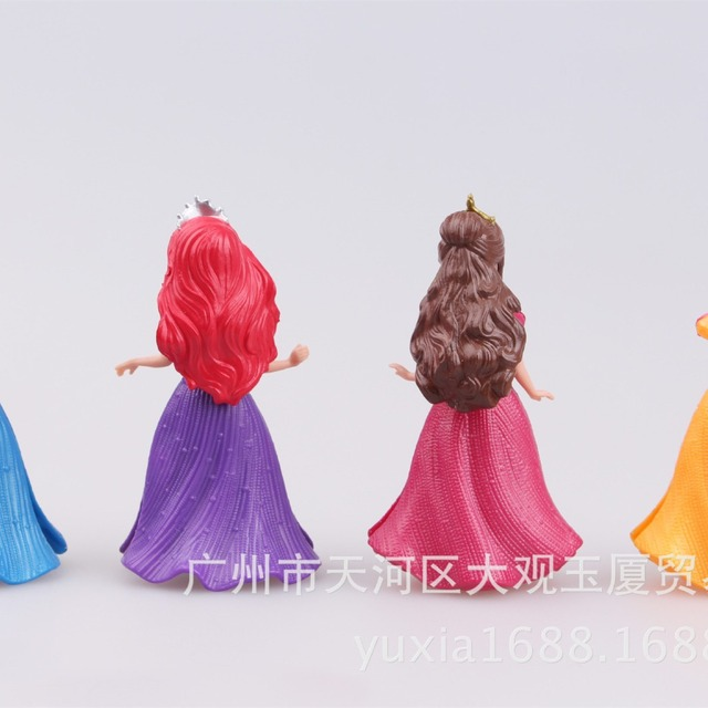7Pcs/Set Magic Clip Cinderella Princess Snow White Dress up Anime PVC Action Figures Statue Figurines Kids Toys Doll Girls Gift