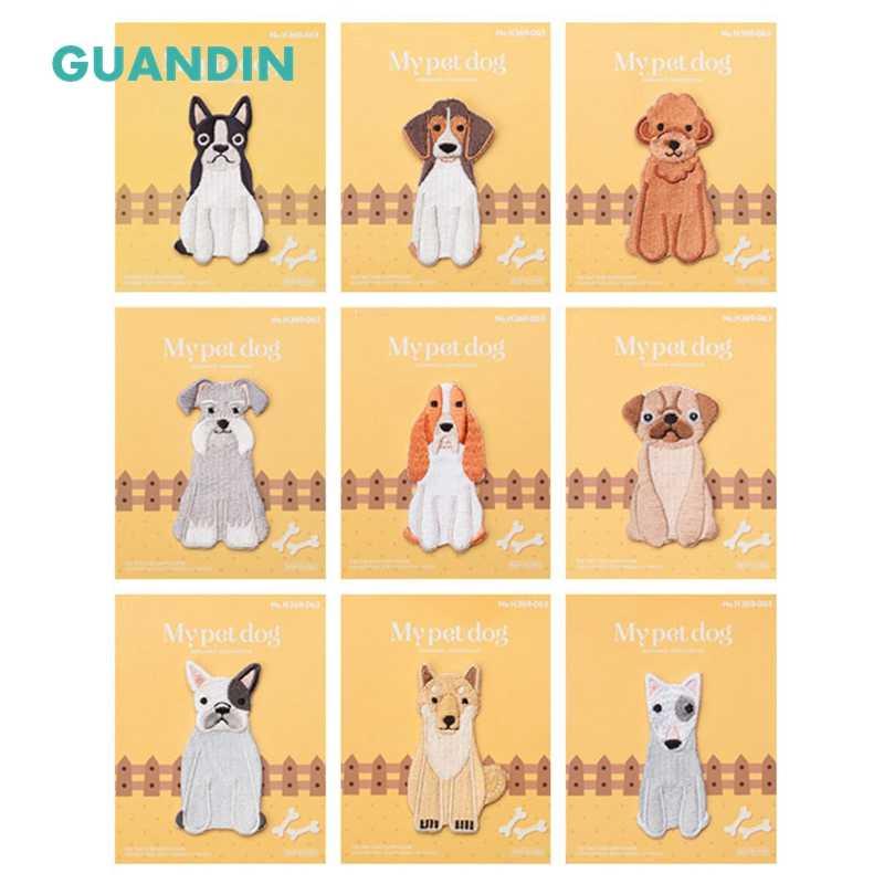 Guanin, lindo perro de moda ordenador bordado pegatinas de tela ropa para niños parche DIY accesorios decorativos 1 unids/bolsa