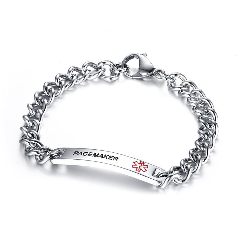 Mprainbow Frauen Armbänder Edelstahl 8 MM Medizinische Symbol Alarm ID Tag Armband Armreif Typ 1 Diabetes EPILEPSIE COUMADIN