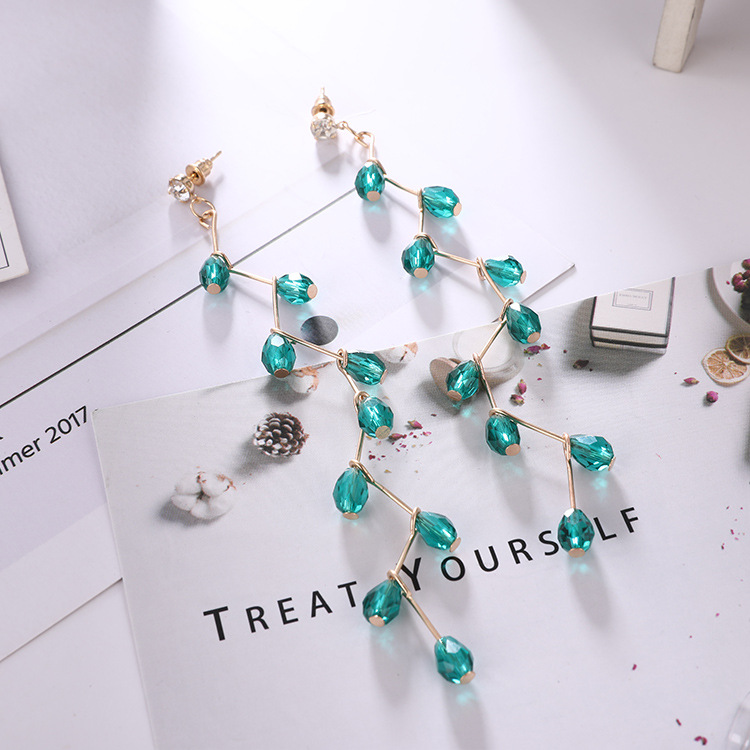 71eb74d710 2018 2018 New Europe Long Cross Earring Green Rhinestone Drop Earring For  Girls New Year Party Personality Crystal Tassel From Ximamout, $18.7   ...