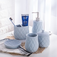 Simple creative European ceramic bathroom five piece bathroom accessories kit wash cup gift set wash set LO871037