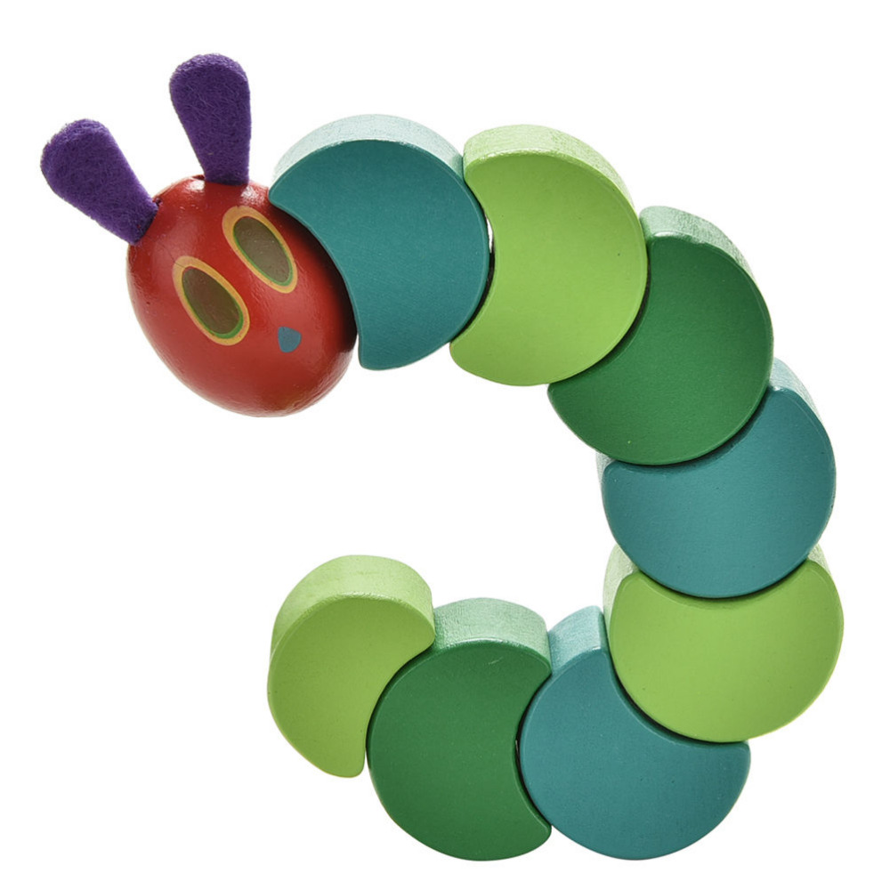 Wooden Block Baby Fingers Flexible Blocks Toy Wood Insects Twist The Very Hungry Caterpillars Children Anime Block Toys