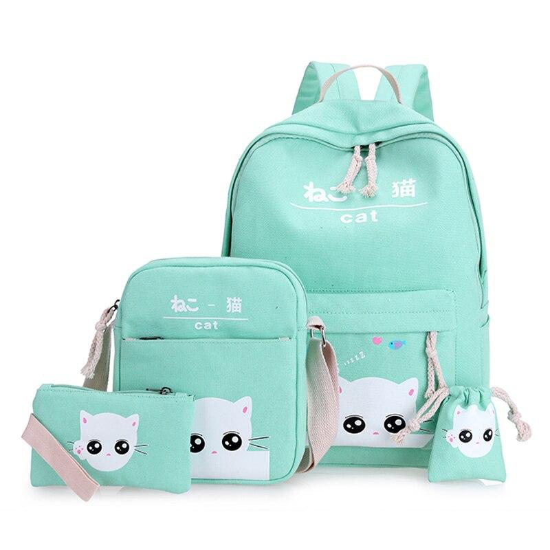 free shipping green cat backpacks for teenager school bag for girls set 4 green teenagers backpack mint green Korean back pack