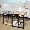 SoBuy FBT35-SCH современные столы вложенные набор из 2 журнальный столик концевой стол мебель для гостиной