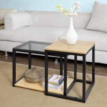 SoBuy FBT35-SCH מודרני שולחנות קינון סט של 2 קפה קצה שולחן שולחן סלון ריהוט