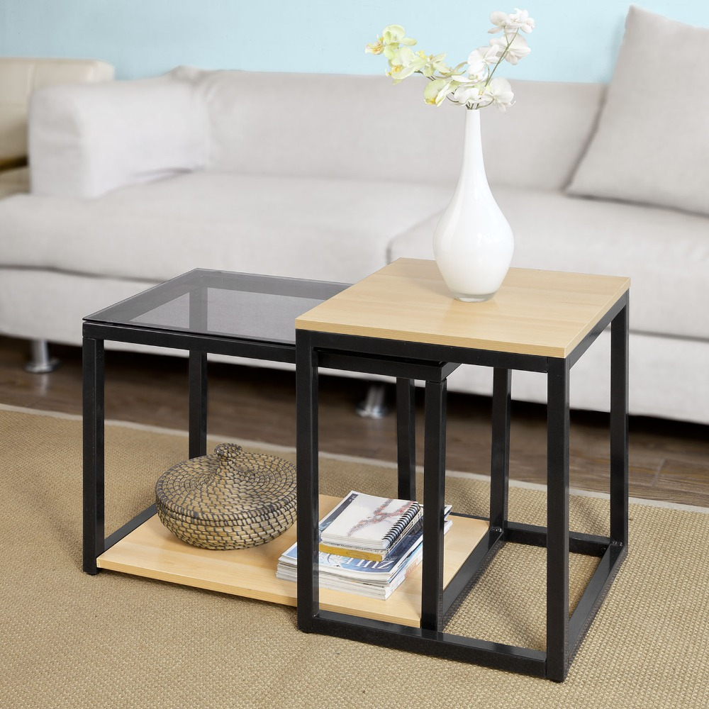 SoBuy FBT35-SCH Modern Nesting Tables Set Of 2 Coffee Table End Table Living Room Furniture
