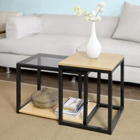 SoBuy FBT35 SCH Modern Nesting Tables Set of 2 Coffee Table End Table Living Room Furniture