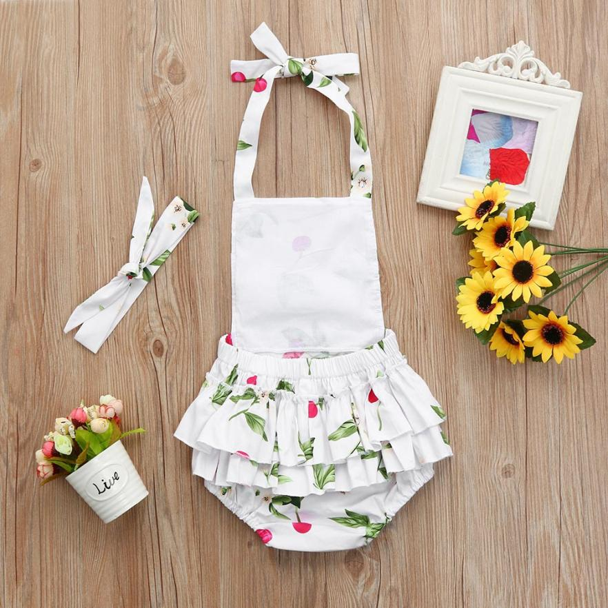 2018 New Arrival Infant Baby Romper Girls Floral Print Ruffles Jumpsuit Outfits Summer Clothes drop shipping May 28