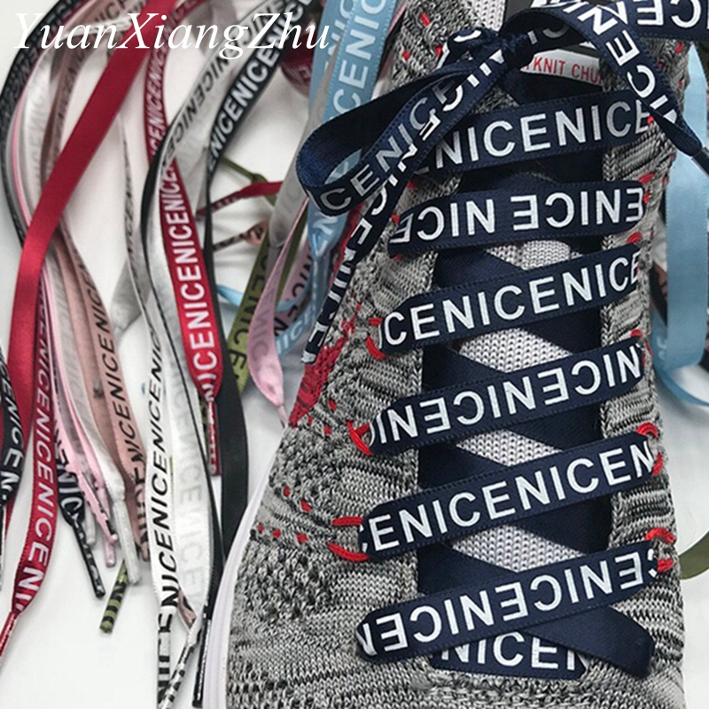 New Arrival Flat Single Side Letter Printing Shoelaces Shoe Laces Sneaker Shoes Lace Casual Shoelace 80/100/120/140/160CM ZM1