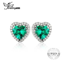 2 57ct Heart Nano Russian Emerald Stud Earrings Women Romantic Wedding Set Fine Jewelry 925 Solid