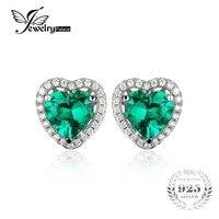 JewelryPalace Heart Of Ozean 2.2ct Grün Russische Nano Erstellt Smaragde Liebe Für Immer Halo Ohrstecker Echt 925 Sterling Silber