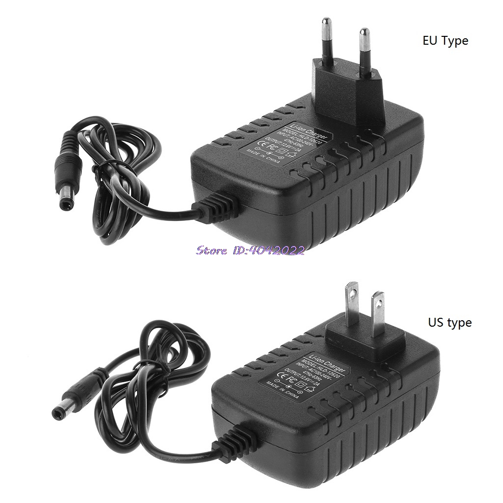 EU /US Plug 12.6V 2A 18650 Lithium Battery Charger DC 5.5MM x 2.1MM Portable Charger(China)