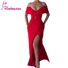 Wine Red Evening Dresses Long 2019 Satin Off the Shoulder Robe De Soiree Mermaid Prom Gowns Side Slit Formal Dress army green side slit off the shoulder long sleeves dress