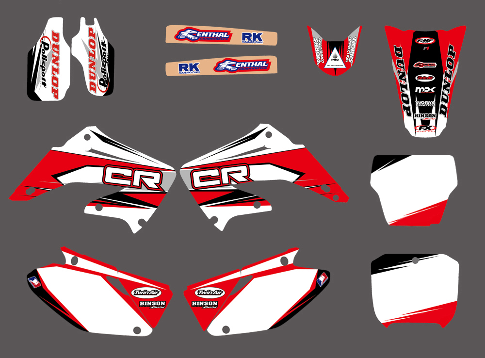 New Style TEAM GRAPHICS & BACKGROUNDS DECALS STICKERS Kits for HONDA CR125 CR250 CR125R CR250R 2002-2012 CR 125 125R 250 250R цена