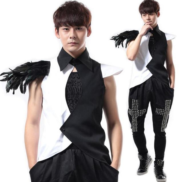 Summer style personality slim male feather vest men punk rock costumes singer dance stage fashion street european 2017 novelty