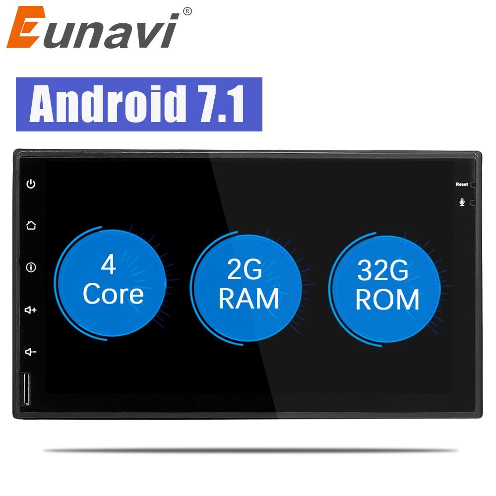 цена на Eunavi 2 din Android 7.1 Car Radio multimedia player 7 inch 2din GPS+Wifi+Bluetooth+Radio+DDR3+Capacitive Touch Screen+3G+audio