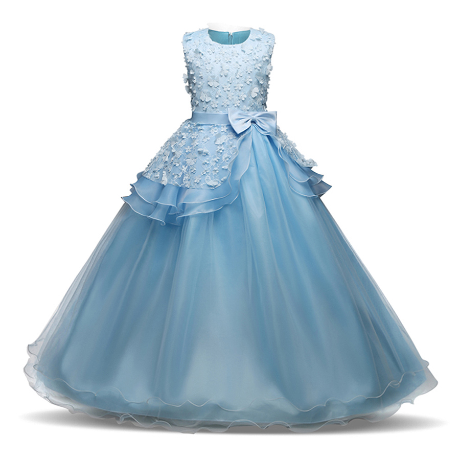 Girls Clothes 2018 New Pageant Long Party Dress Kids Floral Bow ...