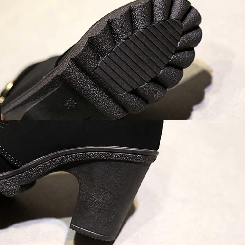 Vrouwen Hoge Hak Laarzen Fashion Enkellaars Voor Vrouwen Laarzen 2018 Winter Laarzen Vrouwelijke Herfst Dik Met Vierkante Hak Vrouwen booties