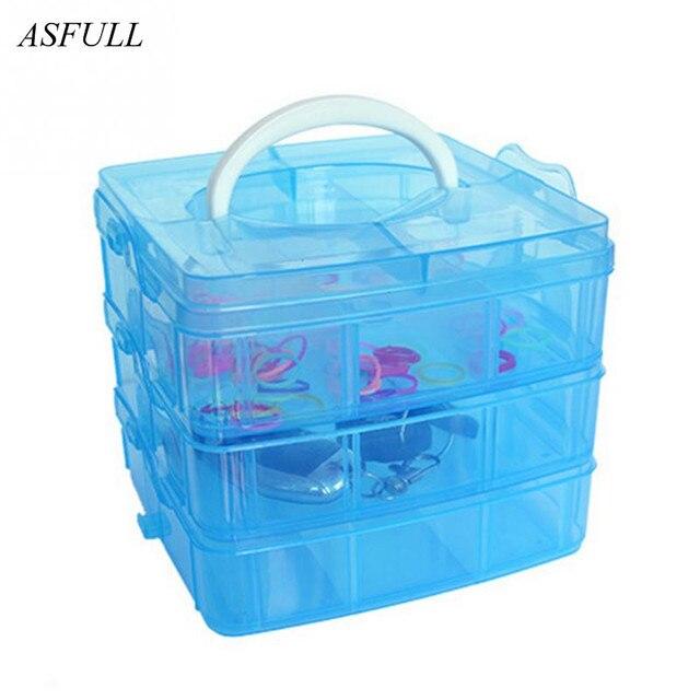 ASFULL Portable Plastic Storage Box Detachable Home Organizer Makeup