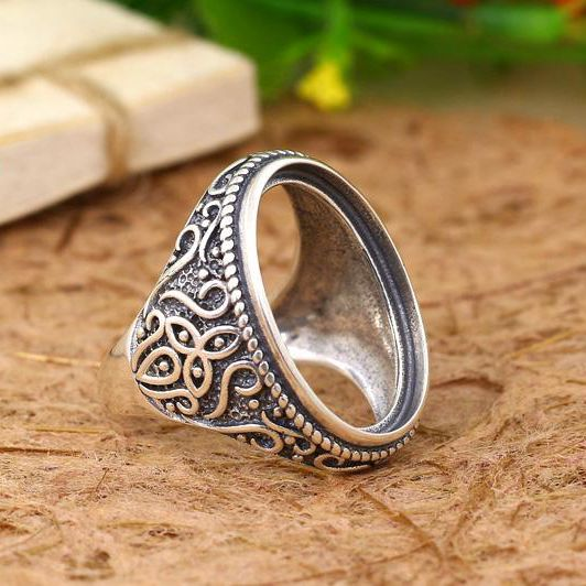 Art Nouveau Wedding 925 Sterling Silver Ring 16x23mm Oval Cabochon Semi Mount Fine Jewelry Setting For Amber Agate Turquoise серьги art silver art silver ar004dwzmh30