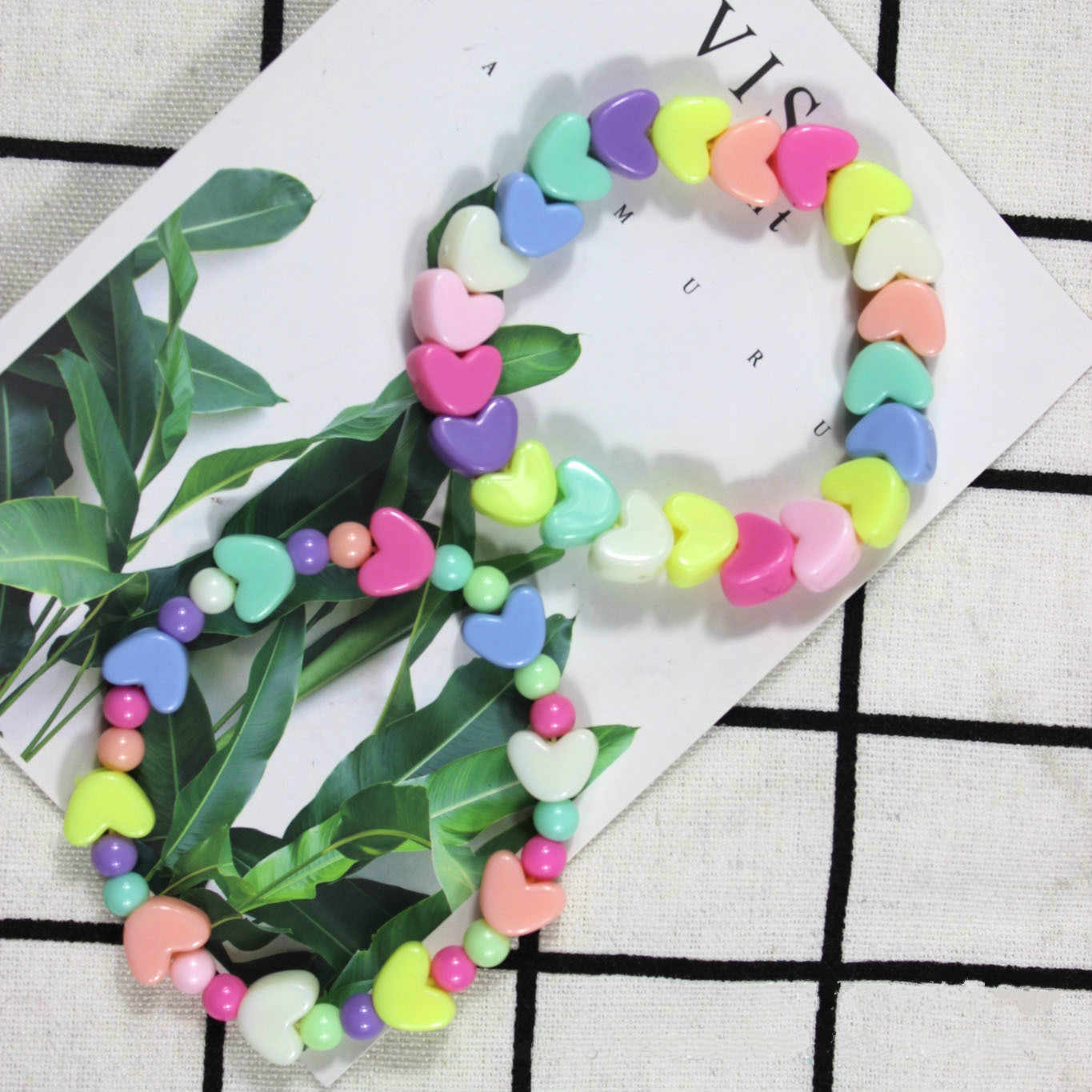 Summer Style Kids Children Cute Candy Colorful Cartoon Acrylic Heart Bracelet for Girl Birthday Party Jewelry Gift Wholesale
