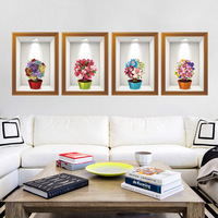 3D Stereo Potted Flowers Fake Frame Wall Stickers Home Decor Creative Fresh Flowers Wallpaper Poster Art