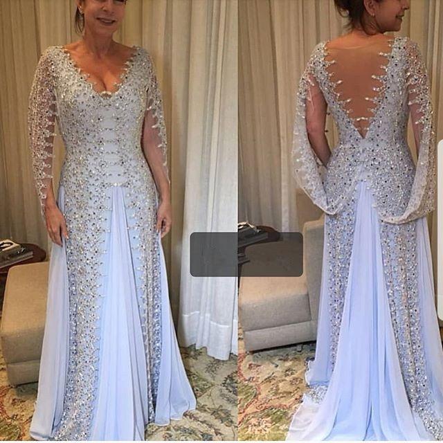 New Arrival Elegant   Evening     Dress   2019 V-Neck Long Sleeves Floor length Beading Chiffon Mermaid Prom   Dresses   Vestido longo