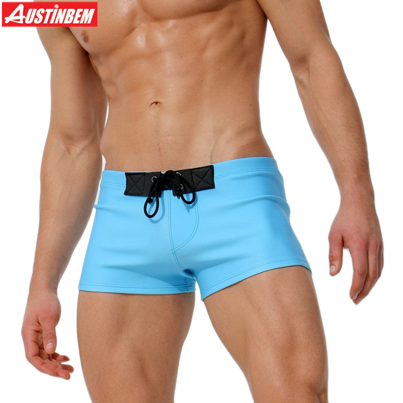 AUSTINBEM new blue coffee bandage swimwear men Shorts maillot de bain Swimming Trunks men briefs beach sport men Swimsuit 292