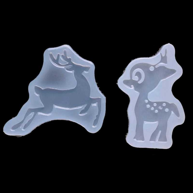 Two Deers Silicone Mold Cartoon Christmas  Diy Resin Decorative Craft Silicone Mold For Epoxy Resin Mold