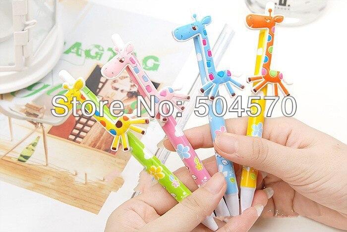 80pcs/lot 0.5mm Novelty Cute Giraffe Push Ballpoint Writing Pens Ballpens for girls gifts kids birthday party favor