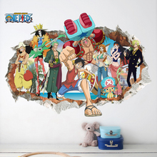 One Piece Luffy Smashed Wall Stickers Japanese Anime Comic 3DVIEW Window for Kids Nursery Room Decoration Mural Pvc Decal