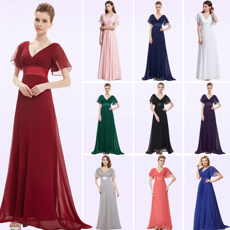 Image 2 - Evening Dresses EP09890 Padded Trailing Flutter Sleeve Long Women Gown 2019 New Chiffon Summer Style Special Occasion Dresses-in Evening Dresses from Weddings & Events