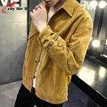 Men's Jacket Metrosexual Slim Jacket Corduroy Coat Handsome 2016 Spring Autumn New Male Coats Plus Size M-4XL Grey Coffee Khaki
