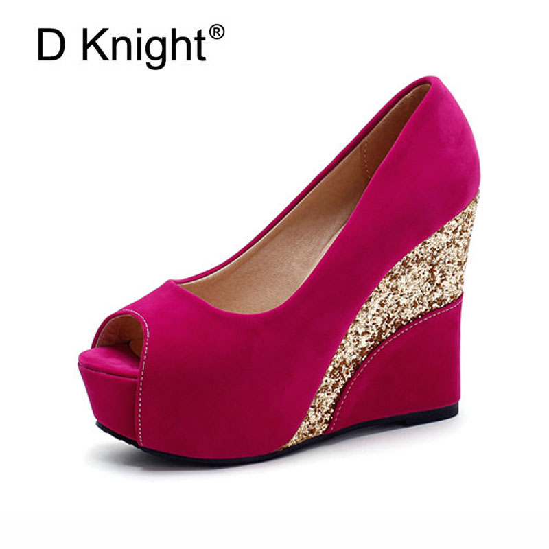 Ladies Casual Open Toe Platform High Heels Wedge Shoes New Fashion Flock Glitter Patchwork Women Summer Wedges Sandals Pumps