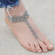 17KM New Vintage Ankle Bracelet Bohemian Flower Anklets Leg Jewelry chaine cheville Silver Color Tassel barefoot sandals