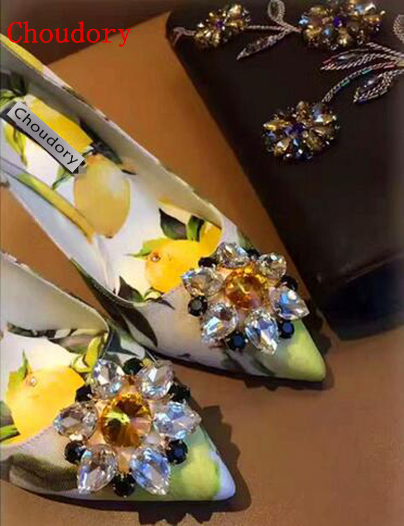 ФОТО Hot Sale Flower and Lemon Printed High Heels Luxury Pointed Toe Woman Dress Shoes Bling Bling Crystal Decor Party Shoes