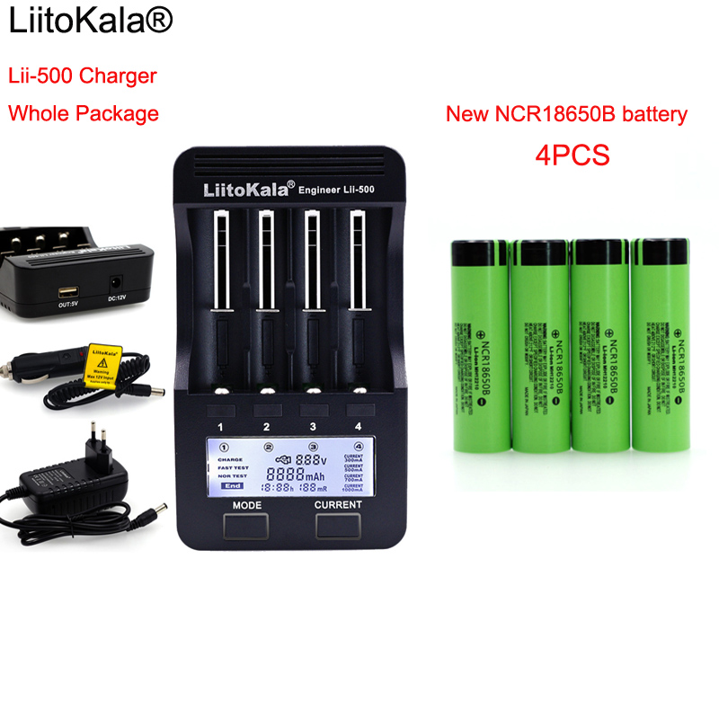 LiitoKala lii500 LCD 3.7V 18650 26650 1.2V AA battery Charger+ 4pcs NCR18650B 3400mAh For Flashlight batteries 1pcs new liitokala lii pd4 lcd 3 7v 18650 21700 battery charger 4pcs protection ncr18650b 3400mah with pcb 3 7v batteries