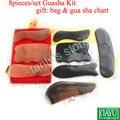 8 unids/set kit de herramientas Tradicionales Acupuntura Masaje Guasha 100% buey amarillo regalo de belleza bax y gua sha cuerno y cuerno de búfalo gráfico