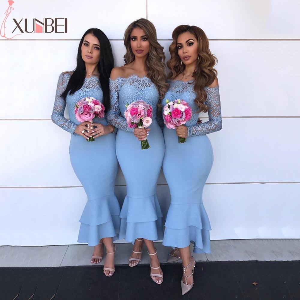 Vestido De Festa Longo Off The Shoulder Lace Mermaid Bridesmaid Dresses  Boat Neck Long Sleeves Illusion Wedding Guest Dress
